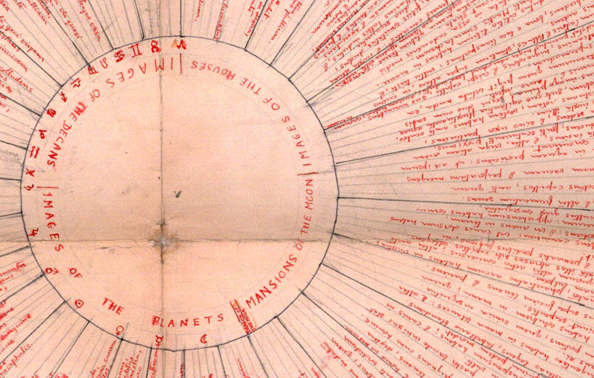 Giordano Bruno's memory wheel from 'De Umbris Idearum'